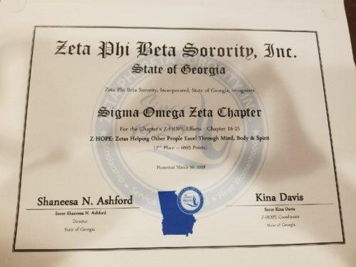 Sigma Omega Zeta Wins 2nd Place for Z-HOPE Efforts