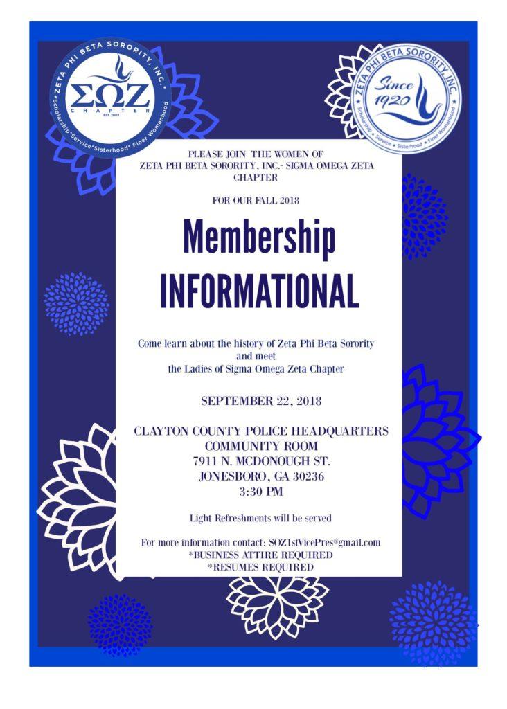 September 22, 2018 - Membership Informational